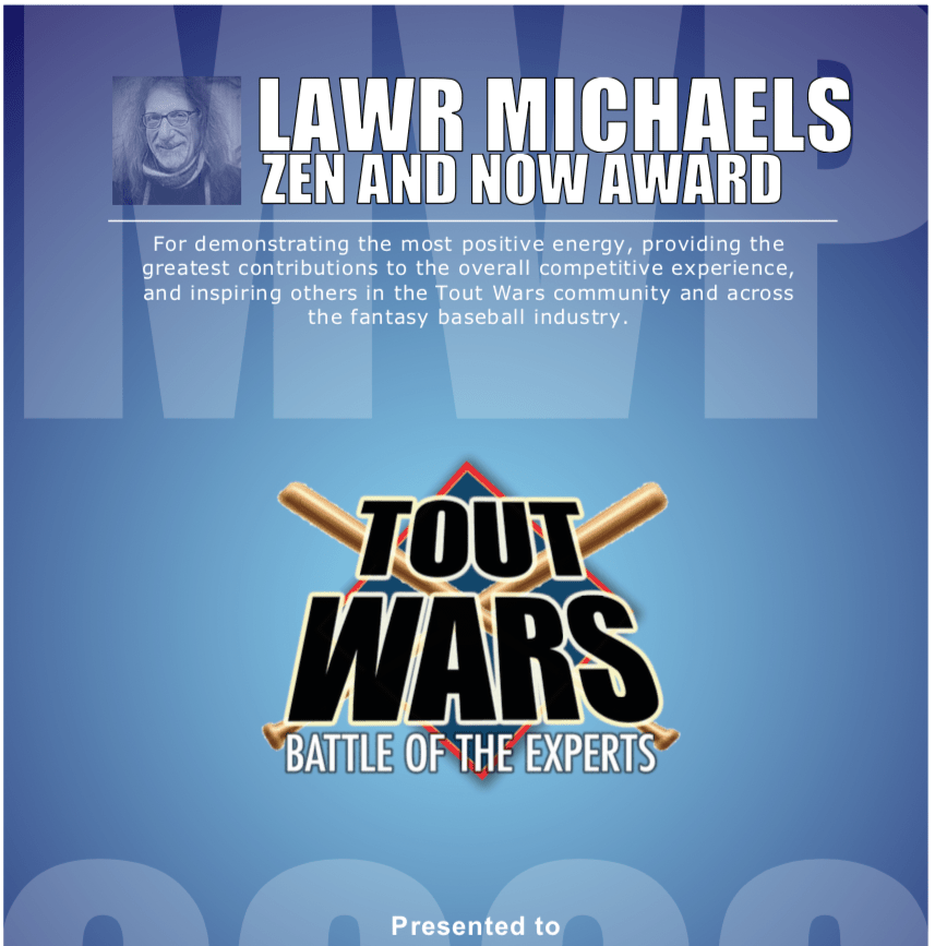 Zen and Now Award Winner before Tout Mixed Draft 15 on March 9 at 8 pm