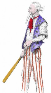 Uncle Sam playing baseball